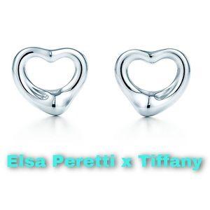 Elsa Peretti x Tiffany Open Heart Stud Earrings.